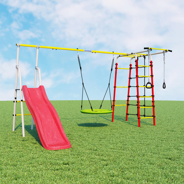 Детский спортивный комплекс для дачи ROMANA Богатырь Плюс - 2 (качели гнездо)