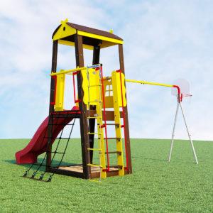 Детский спортивный комплекс для дачи ROMANA Избушка (качели гнездо)_1