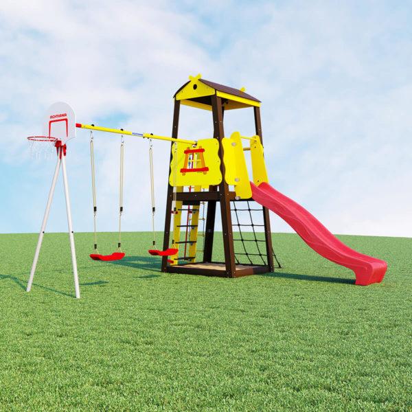 Детский спортивный комплекс для дачи ROMANA Избушка (качели пластиковые)