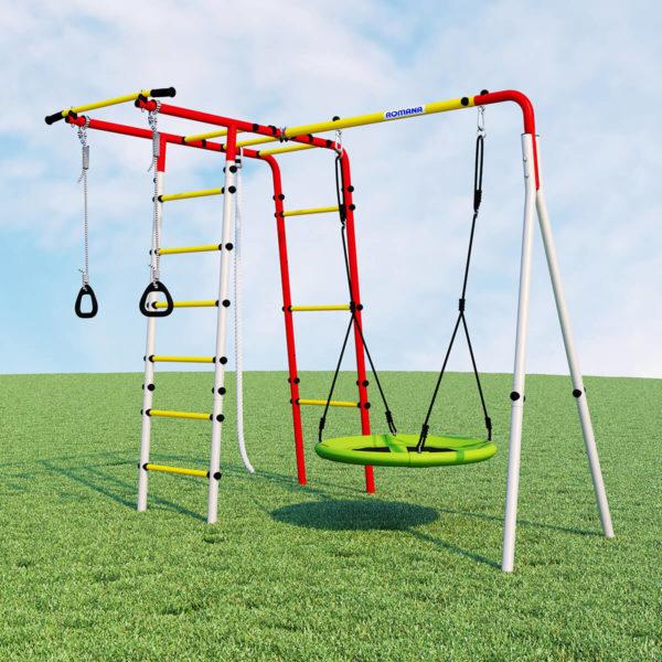 Детский спортивный комплекс для дачи ROMANA Лесная поляна - 3 (качели гнездо)
