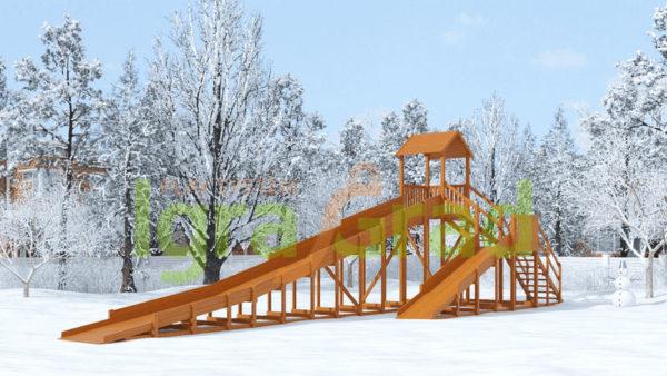zimnjaja derevjannaja gorka snow fox 12 m s dvumja skatami