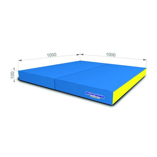 Гимнастический мат РОМАНА Мягкий щит 1000*1000*100 в 2 сложения голубой желтый