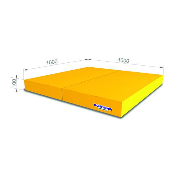 Гимнастический мат РОМАНА Мягкий щит 1000*1000*100 в 2 сложения желтый