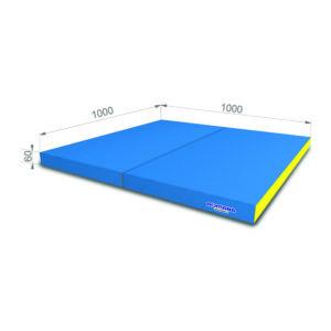 Гимнастический мат РОМАНА Мягкий щит 1000*1000*60 в 2 сложения гол-желт