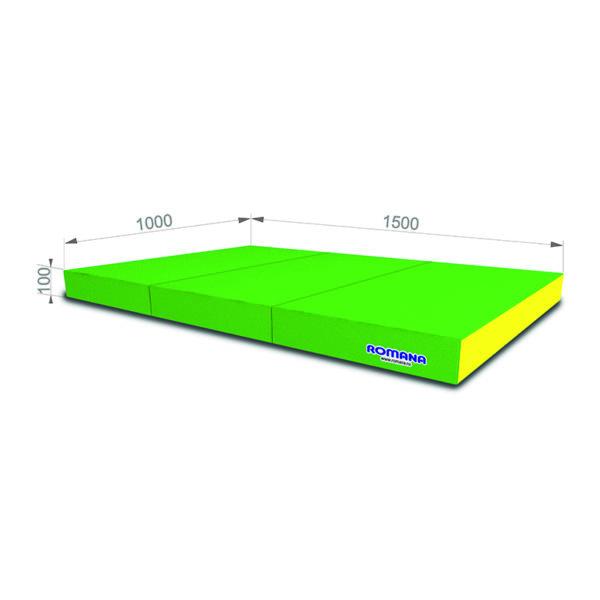 Гимнастический мат РОМАНА Мягкий щит 1000*1500*100 в 3 сложения желтый