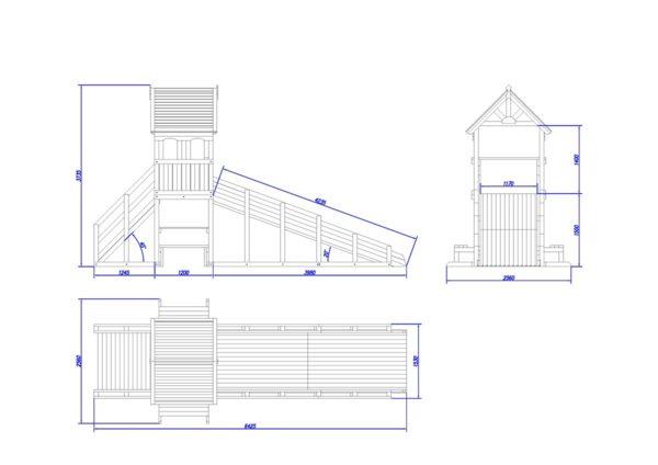 зимняя деревянная заливная горка Теремок 1 схема