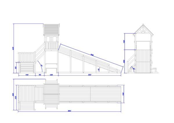 зимняя деревянная заливная горка Теремок 2 схема