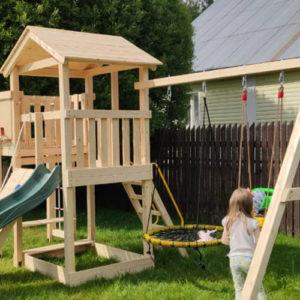 Детская площадка Лео качели-гнездо 0.8м + баскет (1)