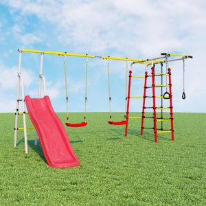 Детский спортивный комплекс для дачи ROMANA Богатырь Плюс - 2 (качели пластиковые)