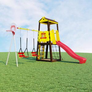 Детский спортивный комплекс для дачи ROMANA Избушка (качели цепные)