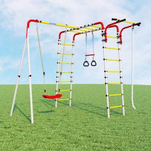 Детский спортивный комплекс для дачи ROMANA Веселая лужайка - 2 (качели пластиковые)