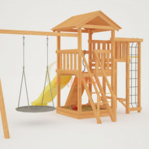 Детская площадка Савушка Мастер 3 с качелями Гнездо 1 метр_1