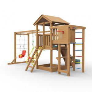 Детская площадка для дачи Лео макси окрашенная